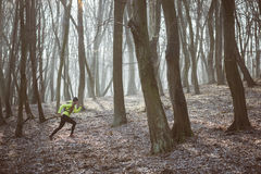 Female athlete running in the forest trail Stock Photo