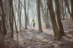 Female athlete running in the forest trail and jumping Royalty Free Stock Image