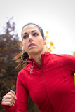 Female athlete running at park Stock Photos