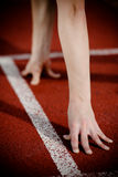 Female athlete's arms on the starting line Royalty Free Stock Images