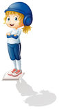 A female athlete with a shadow. Illustration of a female athlete with a shadow on a white background royalty free illustration