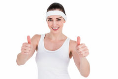 Female athlete showing thumbs up Royalty Free Stock Photography