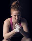 Female Athlete Sitting Thinking. Mental Strength Preparing Focus Look. Royalty Free Stock Image