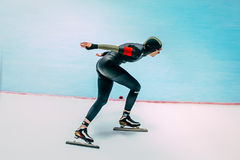Female athlete speed skaters track runs Royalty Free Stock Image