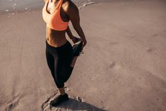 Morning exercise by the sea. Female athlete in sports wear stretching before running on the beach. Cropped shot woman warming up Stock Photography