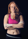 Female Athlete. Sports Woman Dark Gritty. Strength & Determination Climbing Royalty Free Stock Photos