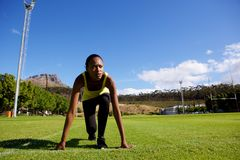 Female athlete in starting position Royalty Free Stock Photography