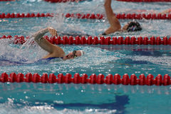 Female athlete in swimming competitions Royalty Free Stock Photo