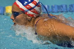 Female Athlete Swims A Breaststroke Stock Photo
