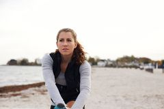Female athlete taking a break from workout Royalty Free Stock Images