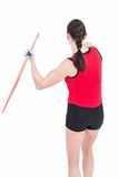 Female athlete throwing a javelin. On white background Stock Photography