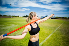 Female athlete about to throw a javelin Stock Photography
