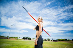 Female athlete about to throw a javelin Stock Photo