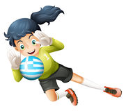 A female athlete using ball with flag of Greece Royalty Free Stock Photo