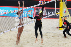 Female athletes from Brazil play volleyball Stock Images