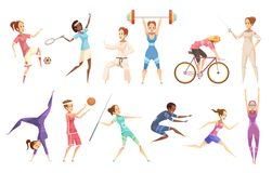 Female Athletes Doodle Collection Stock Image
