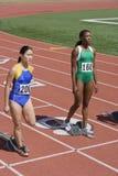 Female Athletes At Starting Blocks Royalty Free Stock Photo