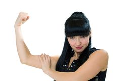 Female athletes, which shows his muscles Royalty Free Stock Photos
