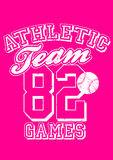 Female athletic team baseball design on pink background Royalty Free Stock Photography