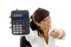 Female attorney and holding calculator Royalty Free Stock Images