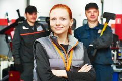 Female automobile auto mechanic Royalty Free Stock Image