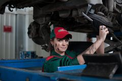 Female automotive mechanic