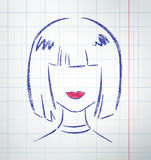 Female avatar. Drawn on checkered school notebook paper. Vector illustration Stock Image