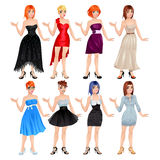 Female avatar with dresses and shoes. Vector illustration, isolated objects. 8 different dresses and 8 shoes Stock Photography