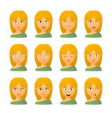 Female avatar expression set Stock Photo