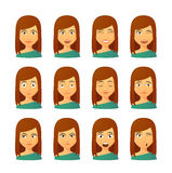 Female avatar expression set Stock Images