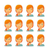 Female avatar expression set Stock Photos