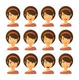 Female avatar expression set Royalty Free Stock Image