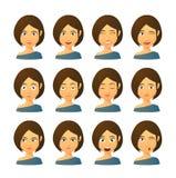 Female avatar expression set Stock Photos
