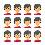 Female avatar expression set Royalty Free Stock Photos