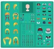 Female avatar maker - blonde hair. Edition vector illustration
