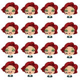 Female avatar manager with headset set of expressions Royalty Free Stock Image
