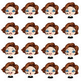 Female avatar manager with headset set of expressions Royalty Free Stock Photos