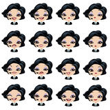 Female avatar manager with headset set of expressions Stock Photos