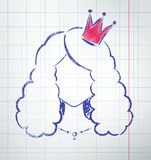 Female avatar. With princess crown, drawn on checkered school notebook paper. Vector illustration Stock Image