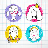 Female avatar set Stock Photo