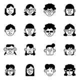 Female avatar ,user and person icons set vector illustration Royalty Free Stock Images