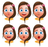 Female avatar vector character. Set of teenager girl heads Stock Photos