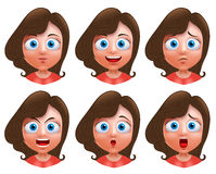 Female avatar vector character. Set of teenager girl heads. With facial expressions and wavy long hair for fashion isolated in white background Stock Photos