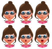 Female avatar vector character. Set of teenager girl heads Royalty Free Stock Photography
