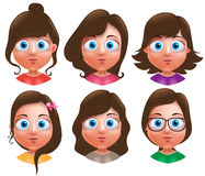 Female avatar vector characters. Set of teenager girls head Royalty Free Stock Images