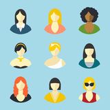 Female avatars. Flat design vector icons set Royalty Free Stock Photography