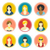Female avatars. Flat design vector icons set on white background Royalty Free Stock Images