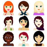 Female avatars.hairstyles, eyes and mouths Stock Photography