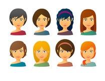 Female avatars  with various hair styles Stock Photos