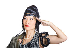 Female aviation lady saluting in pin-up class Stock Photos